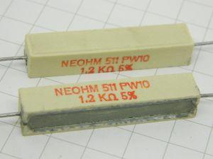 1,2Kohm 10W resistenza a filo (n.2 pezzi)