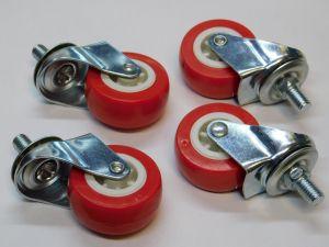 Ruota girevole  plastica rossa diam. mm.50 fissaggio con perno ( set di n. 4 pezzi)