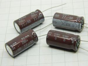 22uF 250Vcc condensatore elettrolitico ELNA (M) CE105° vintage audio (n.4 pezzi)