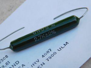2,7Kohm 8W 2% resistenza a filo AEG-TELEFUNKEN GWD8 , vintage