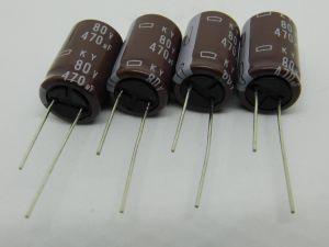 470uF 80Vcc condensatore elettrolitico Nipponchemicon KY (M)105°  (n.4 pezzi)