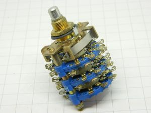 Commutatore rotante 4posizioni 10vie isolamento fiberglass blu, contatti in lega argento