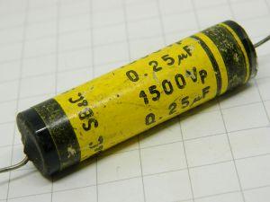 0,25uF 1500Vcc condensatore SB&C. a carta impregnata vetrificato, vintage raro audio radio