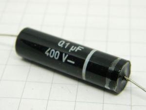 0,1uF 400Vcc condensatore  AUSO SIEMENS  carta impregnata vetrificato, vintage raro