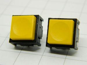 Push button TRW 320069 yellow 1contact n.o. pcb 12,5x12,5x10mm.  (n.2 pezzi)