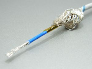Shielded cable 1xAWG18 PTFE teflon/kapton  white silver plated