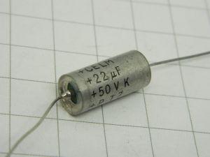 22MF 50Vdc  CELM PT7  tantalum capacitor axial