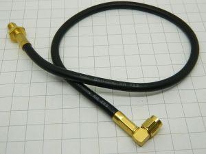 Cavetto coassiale RG223  SMA-M90°/ SMA-F  passante  cm. 30