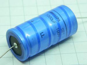 1000uF 100Vcc condensatore elettrolitico assiale PHILIPS  LL