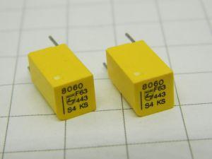 8060pF 63V 1%  condensatore di precisione PHILIPS KS Stiroflex  (n.2 pezzi)