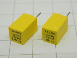 14300pF 63V 1%  condensatore di precisione PHILIPS KS Stiroflex  (n.2 pezzi)