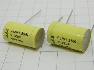 0,12uF 63V  1,25%  condensatore alta stabilità M.C.E. PLR  (n.2 pezzi)