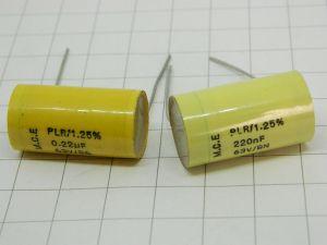 0,22uF 63V  1,25%  condensatore alta stabilità  M.C.E. PLR  (n.2 pezzi)