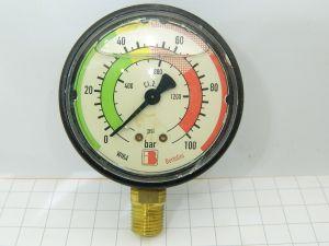 Manometro WIKA  0-100BAR  0-1400PSI  mm.88x29 riempito glicerina impianto irrigazione