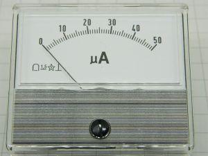 Ammeter 50UA  dim. mm. 70X60, CLASS 1,5  type 55/TL