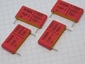 1000pF 2000V condensatore WIMA KKP1 polypropylene extremely high pulse duty (n.4 pezzi)