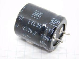 2200uF 40Vcc condensatore elettrolitico ROE EYS06  snap-in mm. 25x22