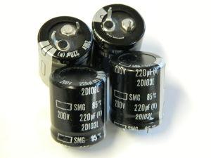 220uF 200V condensatore elettrolitico Nippon Chemicon SMG 44x21  (n. 4 pezzi)