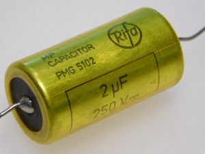 2MF 250Vdc capacitor MP RIFA  PMG5102  paper oil  PIO , vintage audio